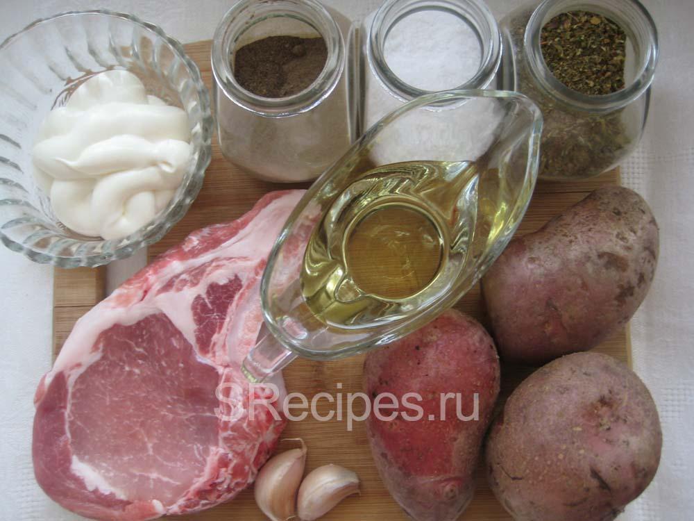 Ингредиенты на антрекот из свинины