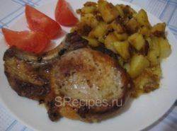Антрекот из свинины с картошкой