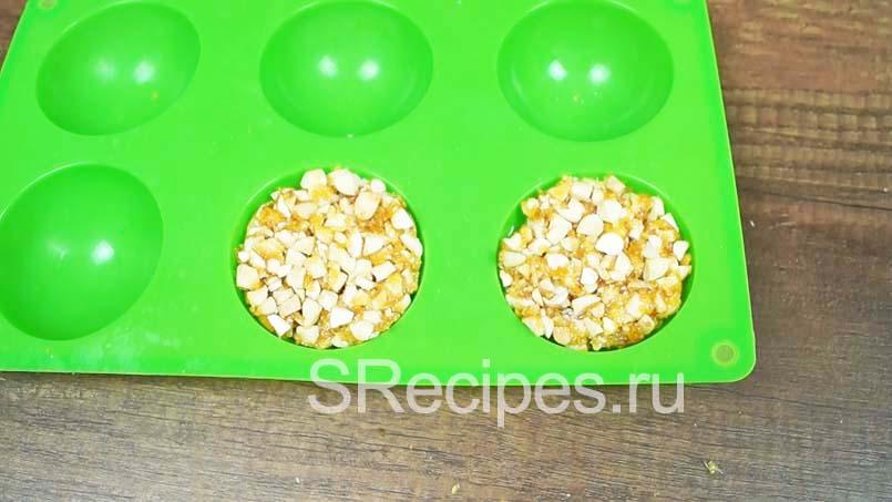 заполнить форму орехами в карамеле