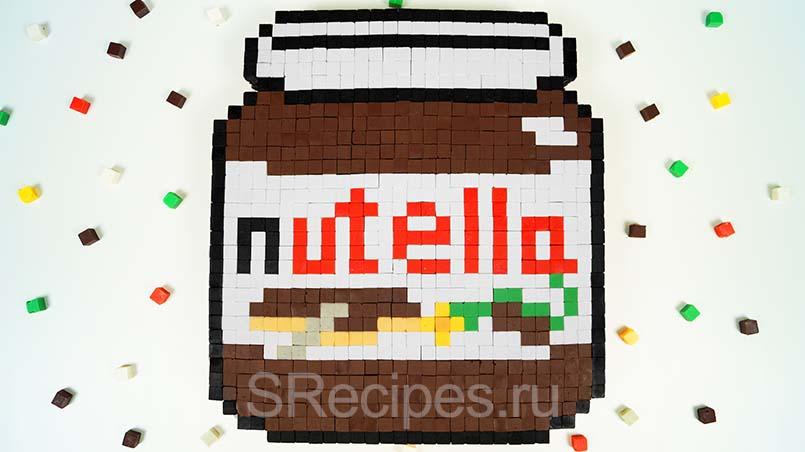 торт нутелла в стиле майнкрафт из шоколада